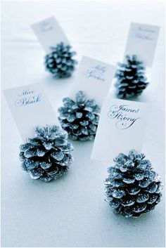 Using pine cones as place card holders is ideal for the winter wonderland theme.