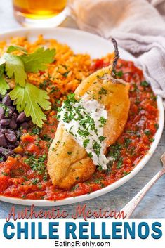 This authentic chile relleno recipe is a traditional Mexican dish of flavorful chilies stuffed with cheese, battered and fried, then smothered in a homemade sauce. via mexican recipe Chile Relleno Mexican Recipe Chili Relleno Recipe Authentic, Chilli Relleno Recipe, Stuffed Chili Relleno Recipe, Rellenos Recipe, Chile Relleno Sauce, Vegetarian Chili Relleno Recipe, Chile Rellanos Recipe, Chili Relleno Casserole, Authentic Mexican Recipes