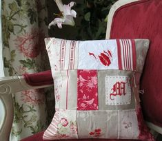 French style Cover cushion monogrammed Pillow by linenartisan