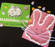Marshmallow bunny to go with a classic book! Just glue mini marshmallows in the shape of a rabbit head. Add pipe cleaner whiskers and goggle eyes!