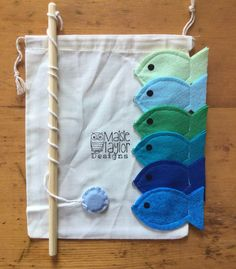handmade toys Kids magnetized fishing game with handmade felt pieces in a custom Maisie Taylor Designs muslin storage bag. Perfect game to go for road trips, airplane rides and more. Toddler Gifts, Toddler Toys, Kids Toys, Montessori Toddler, Montessori Bedroom, Diy Educational Toys For Toddlers, Diy For Kids, Gifts For Kids, Fishing Games For Kids