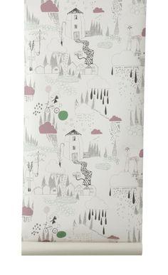 Ferm Living papier peint In the rain - Papier peint design - Balouga