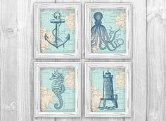 Nautical Map Sea Life Set of 4 Prints - Vintage Ocean Map Chart - Anchor, Octopus, Seahorse, Lighthouse - Beach House Bathroom Decor on Etsy, $20.00