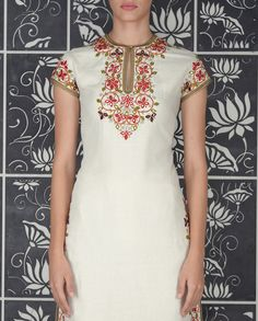 Ivory Suit with Embroidery and Mirror Work - Kurta Sets - Shop Women