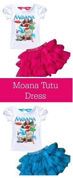 Moana Birthday Party: Moana Dress: Your brave explorer will feel like the princess she is wearing this adorable Moana Tutu Dress! This set includes an adorable Moana t-shirt with a cute open tie back and tutu skirt.