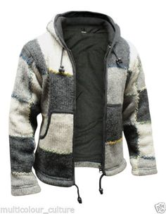 Mens Natural Wool Hippie Hoodie Fleece Lined Grey Bohemian Festival Hippy  Jacket 353fa46978