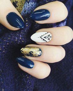 #nails #nails2inspire #hybryda #semilac #shine #prussianblue #white #gold #ilovesemilac #zapraszam