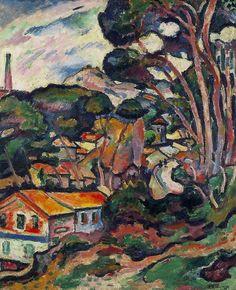 Usine a l'Estaque. 1907 oil on canvas 23 3/4 x 19 3/8 in. (60.3 x 49.3 cm.) georges braque          Usine a lEstaque. 1907oil on canvas233/4 x 193/8 in. (60.3 x 49.3cm.) georges braque