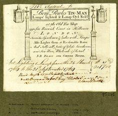 1740 billhead London Benjamin Powles tin man and lamps lighted - neat double lamp graphics