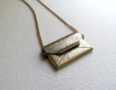 Envelope locket necklace on long antiqued by MySoCalledVintage, $24.00