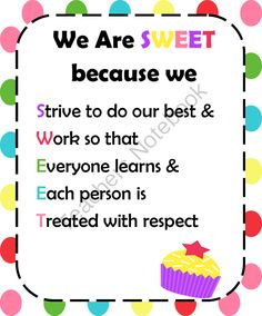"We Are Sweet Poster from TIPS on TeachersNotebook.com (1 page)  - Freebie Rules for School in a ""Sweet"" Theme"