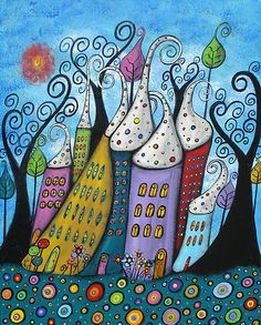The Joyful Town by Juli Cady Ryan whimsical houses and circles . . . two of my favorite things!