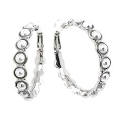 Simulated Pearl Bezeled Rhodium Plated Fashion Clip On Hoop Earrings *** Find out more about the great product at the image link.