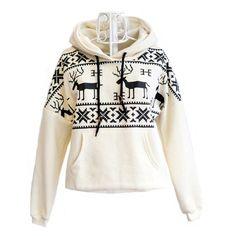 Deer Hooded Sweatershirt For Women