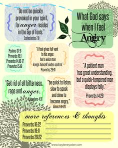 Free printable list of Bible verses for when you feel angry.