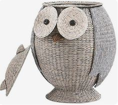 6bc55eae74e50 Home Decorators Collection Owl 28 in. W Grey Hamper with Removable - The  Home Depot