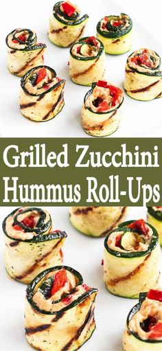 Grilled Zucchini Hummus Roll-Ups These grilled zucchini rolls are the ultimate summertime appetizers or snacks. Fill them with hummus and roasted peppers for fantastic flavor! 43 calories and 1 Weight Watchers SP Meat Appetizers, Vegetarian Appetizers, Healthy Dinner Recipes, Healthy Snacks, Vegetarian Recipes, Recipes With Hummus, Healthy Zucchini Recipes, Vegetarian Grilling, Healthy Easy Food
