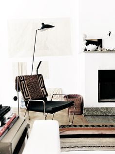 texture, black, white, & neutrals in living room