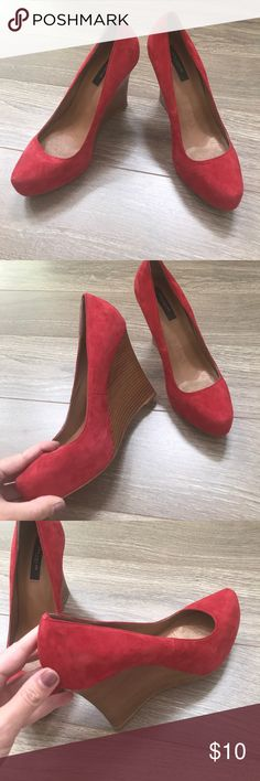 Ann Taylor Red Suede Platform Shoes Size 8.5 Good condition wood platforms from Ann Taylor. Ann Taylor Shoes Platforms