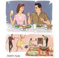 Illustrations from Right Eating…Keeps You Swingin', publ. by Carnation Co., 1960