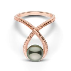 Cradle Collection Hand Engraved Tahitian Pearl Ring
