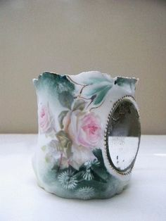 GORGEOUS ANTIQUE RS PRUSSIA SHAVING MUG WITH MIRROR