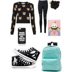 School outfit#2 by ellenks on Polyvore featuring polyvore, fashion, style, Moschino, J Brand, HVBAO, Vans and Jac Vanek