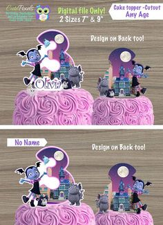 Vampirina Cake Topper, Vampirina Centerpiece, Vampirina Cutouts, Vampirina Birthday, Vampirina Party Decor, Disney Vampirina by Cute Pixels ★Matching Cupcake Toppers http://etsy.me/2rIASnE εїз WHAT IS IT? ☀ This listing is for PRINTABLE cake toppers you will receive as digital files. NO