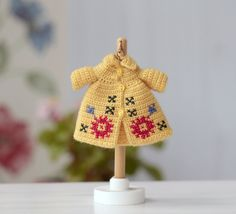 Lati white clothes. Yellow Coat crochet for doll 9 cm.Miniature clothing for BJD dolls. outfit for dolls 3,5 inches. Lati doll wool coat by Creativhook on Etsy