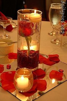 **Get Inspired: What a great idea for a centerpiece! We specially love the mirror idea and the rose petals sinking at the bottom of the glass. Centerpieces... I like the mirror idea