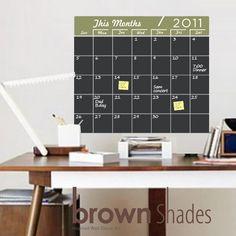 Chalkboard Monthly Planner/ Calendar Vinyl Decal
