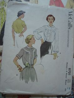 Vintage Sewing Pattern 1950s Detailed Blouse by sewingday on Etsy, $8.00