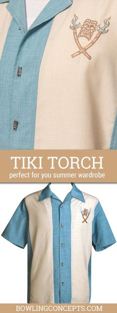 SeaFoam shirt with cream Panels  -- Cool metal tiki buttons -- Embroidered Tiki on Left Chest