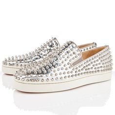 Mens Christian Louboutin Roller Boat Flat Sneakers Silver