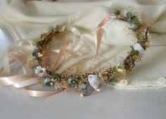 Dried Floral Corona nupcial del pelo de la boda Por guirnalda AmoreBride