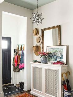 Notice the radiator cover. We didn't have them and used the radiators as a place to dry our wet clothes. Decor, Furnishings, Interior Design, Entryway, House Interior, Home, Ceiling Paint Colors, Interior, Painted Ceiling