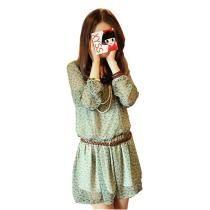 Novos Feminina Equipes Chic Mini vestido túnica verde
