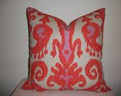 13 x 19 Orange and Lavender Ikat  Pillow Cover. via Etsy.