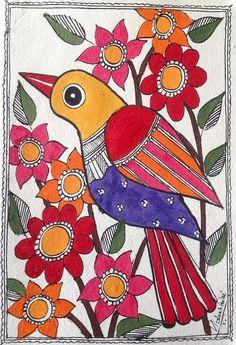 Madhubani Painting - Garden Bird by Vidushini Prasad Madhubani Paintings Peacock, Madhubani Art, Indian Art Paintings, Gond Painting, Fabric Painting, Indian Folk Art, Art Drawings For Kids, Art N Craft, Tribal Art