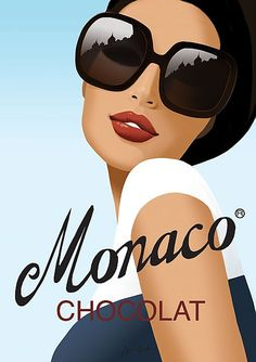 """""""Monaco"""" by Jason Brooks. Vintage style advertising poster for imaginary french chocolate company-delicious! Vintage Travel Posters, Vintage Ads, Vintage Style, Vintage Fashion, Monaco, Poster Photo, Jason Brooks, Advertising Poster, Advertising Design"""