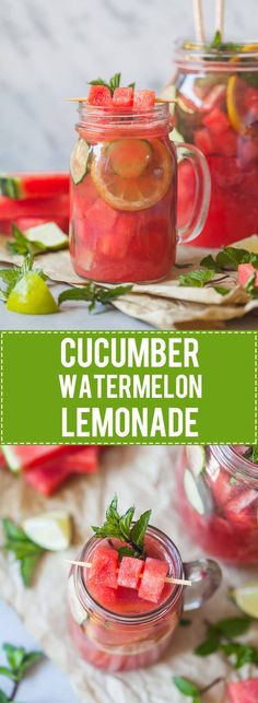flavored lemonade A healthy and refreshing Summer Cucumber Watermelon Lemonade with Mint and no added sugars! Cucumber Lemonade, Flavored Lemonade, Cucumber Drink, Cucumber Detox Water, Watermelon Drinks, Healthy Lemonade, Water Melon, Watermelon Mint, Smoothie Drinks