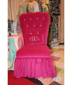 Parsons chair makeover....wouldn't do this color, but that would be a super cute vanity seat