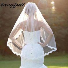 a69f96cca4 Romántico blanco marfil corto velos de boda con peine nupcial velo veu de  noiva longo decoración