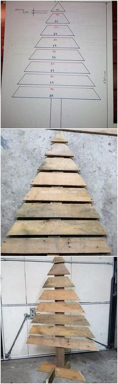 It would give such a impressive appearance by putting together the arrangement of the wood pallet for the ideal Christmas tree creation outside the home gate. It will appear so classy and modish too as you can make its favorable use for the house decorati Pallet Christmas Tree, Christmas Wood, Outdoor Christmas, Christmas Projects, Christmas Trees, Kids Christmas, Diy Wood Projects, Wood Crafts, Recycled Crafts