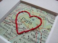embroidered maps Heart Paris
