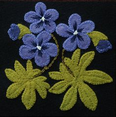 Wool applique PATTERN Wild Geraniums 6x6 by HorseAndBuggyCountry