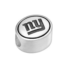 Sterling Silver New York Giants Logo Bead, Grey