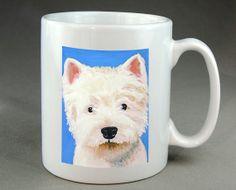 Westie Dog Mug Coffee Tea Cocoa Ceramic cup of by RMBArtStudio, $13.99