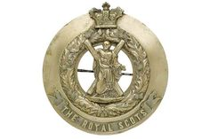 Badge. Scottish. Royal Scots post 1881 Victorian NCO's plaid brooch. A good nickel example by R &