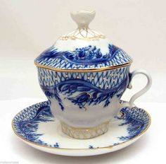 "Lomonosov Russian Fine Porcelain Teamaker Covered Tea Cup/Saucer ""Blue Rhapsody"""
